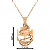 Men's United States Navy Anchor Pendant Necklace 14k Rose Gold