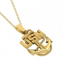 Men's United States Navy Anchor Pendant Necklace 14k Yellow Gold