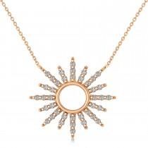 Diamond Sun Pendant Necklace 14k Rose Gold (0.56ct)