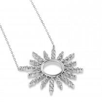 Diamond Sun Pendant Necklace 14k White Gold (0.56ct)