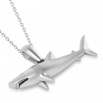 Shark Charm Pendant Necklace 14k White Gold
