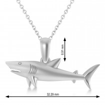 Shark Charm Pendant Necklace 14k White Gold