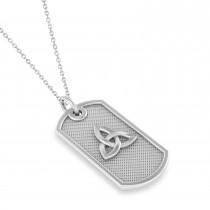 Celtic Knot Dog Tag Pendant Necklace 14k White Gold