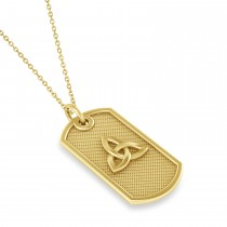 Celtic Knot Dog Tag Pendant Necklace 14k Yellow Gold