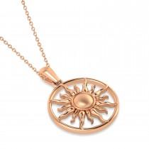Summertime Sun Circle Pendant Necklace 14k Rose Gold