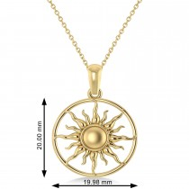 Summertime Sun Circle Pendant Necklace 14k Yellow Gold
