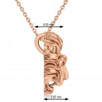 Lion's Head Pendant Necklace 14k Rose Gold