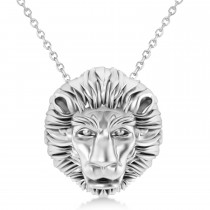 Lion's Head Pendant Necklace 14k White Gold