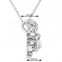 Lion's Head Pendant Necklace 14k White Gold
