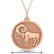 Aries Coin Zodiac Pendant Necklace 14k Rose Gold