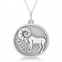 Aries Coin Zodiac Pendant Necklace 14k White Gold