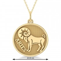 Aries Coin Zodiac Pendant Necklace 14k Yellow Gold