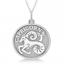 Capricorn Coin Zodiac Pendant Necklace 14k White Gold