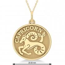 Capricorn Coin Zodiac Pendant Necklace 14k Yellow Gold