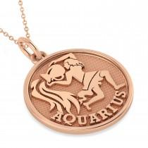 Aquarius Coin Zodiac Pendant Necklace 14k Rose Gold