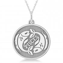 Pisces Disk Zodiac Pendant Necklace 14k White Gold