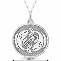 Pisces Coin Zodiac Pendant Necklace 14k White Gold