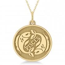 Pisces Coin Zodiac Pendant Necklace 14k Yellow Gold