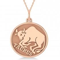 Taurus Coin Zodiac Pendant Necklace 14k Rose Gold