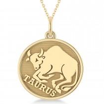 Taurus Coin Zodiac Pendant Necklace 14k Yellow Gold