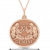 Gemini Coin Zodiac Pendant Necklace 14k Rose Gold