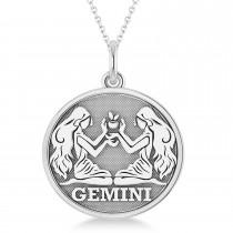 Gemini Coin Zodiac Pendant Necklace 14k White Gold