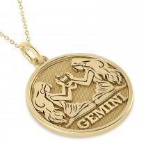 Gemini Coin Zodiac Pendant Necklace 14k Yellow Gold