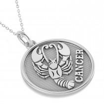 Cancer Coin Zodiac Pendant Necklace 14k White Gold