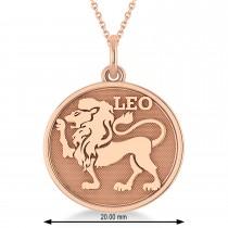 Leo Coin Zodiac Pendant Necklace 14k Rose Gold