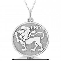 Leo Coin Zodiac Pendant Necklace 14k White Gold