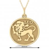 Leo Coin Zodiac Pendant Necklace 14k Yellow Gold
