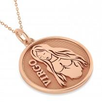 Virgo Coin Zodiac Pendant Necklace 14k Rose Gold