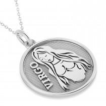 Virgo Coin Zodiac Pendant Necklace 14k White Gold