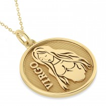 Virgo Coin Zodiac Pendant Necklace 14k Yellow Gold