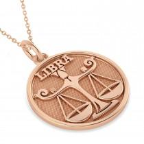 Libra Coin Zodiac Pendant Necklace 14k Rose Gold