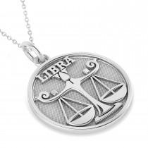 Libra Coin Zodiac Pendant Necklace 14k White Gold