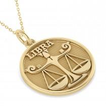 Libra Coin Zodiac Pendant Necklace 14k Yellow Gold