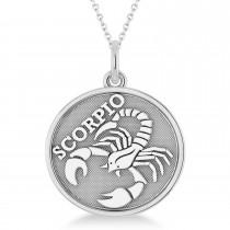 Scorpio Coin Zodiac Pendant Necklace 14k White Gold