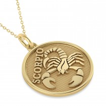 Scorpio Coin Zodiac Pendant Necklace 14k Yellow Gold