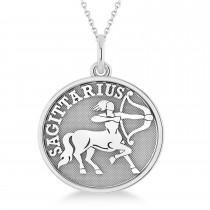 Sagittarius Disk Zodiac Pendant Necklace 14k White Gold