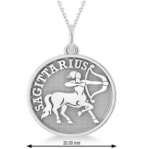 Sagittarius Coin Zodiac Pendant Necklace 14k White Gold