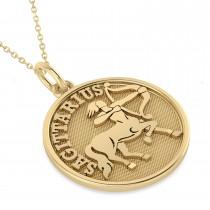 Sagittarius Coin Zodiac Pendant Necklace 14k Yellow Gold