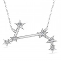 Diamond Aries Zodiac Constellation Star Necklace 14k White Gold (0.07ct)