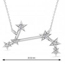 Diamond Aries Zodiac Constellation Star Necklace 14k White Gold (0.07ct)