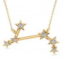 Diamond Aries Zodiac Constellation Star Necklace 14k Yellow Gold (0.07ct)