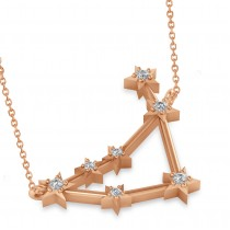 Diamond Capricorn Zodiac Constellation Star Necklace 14k Rose Gold (0.11ct)