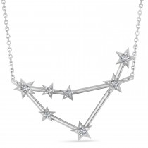 Diamond Capricorn Zodiac Constellation Star Necklace 14k White Gold (0.11ct)