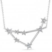 Diamond Capricorn Zodiac Star Pendant Necklace 14k White Gold (0.11ct)