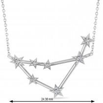 Diamond Capricorn Zodiac Constellation Star Necklace 14k White Gold (0.11ct)