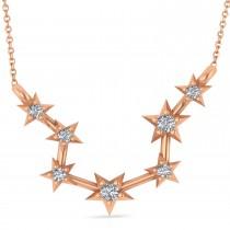 Diamond Aquarius Zodiac Constellation Star Necklace 14k Rose Gold (0.9 ct)
